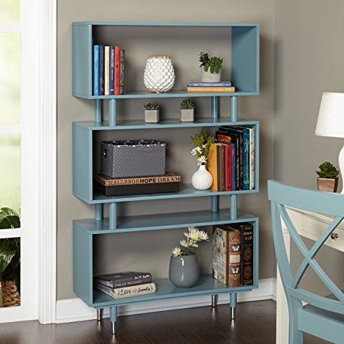 Mid Century Modern Wooden Accent Bookshelf in Blue Finish with 3 Shelves and Silver Legs - Includes Modhaus Living Pen