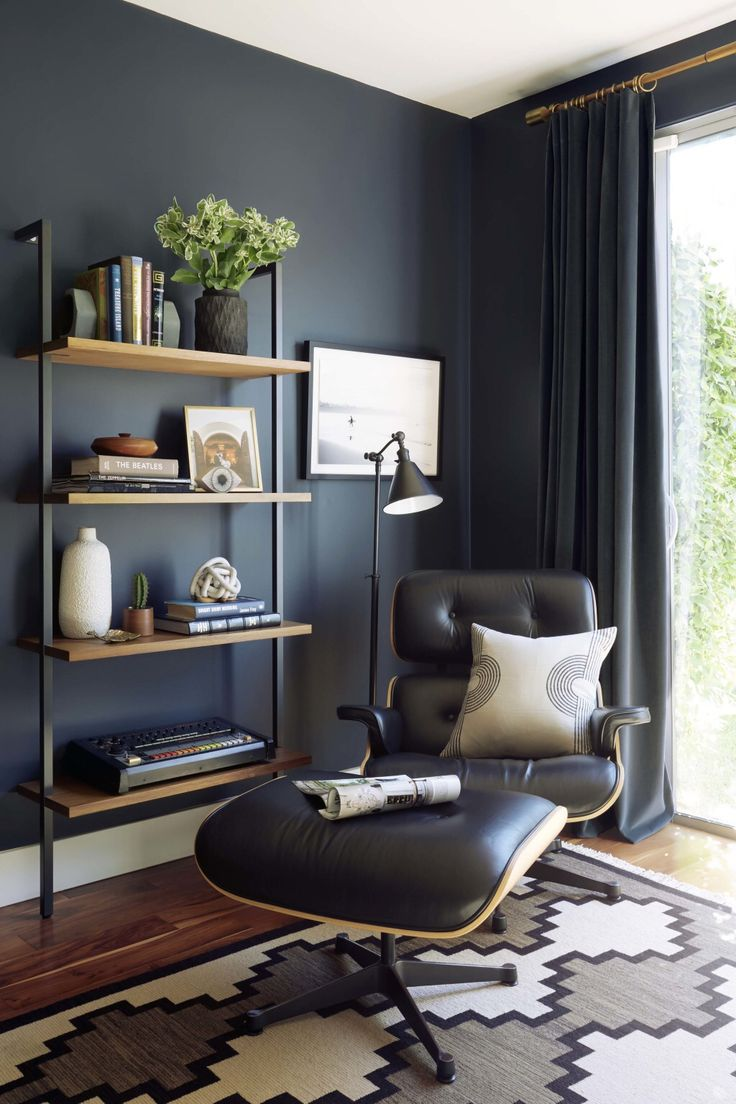 This modern and edgy office is a recent audience (and staff) favorite. It's rare we get to go dark when it comes to painting a room. But when we do, it's always fun and dramatic. If you go for a dark color on your walls make sure to bring in enough light colored accents to add contrast and life (like that pillow, artwork, and accessories). xx @em_henderson 📷 @zekeruelas http://liketk.it/2qJPu #liketkit @liketoknow.it @liketoknow.it.home