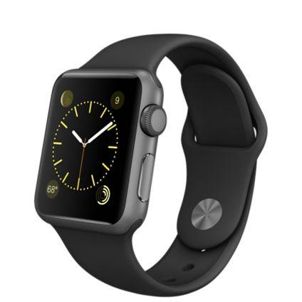 Apple Watch Sport - Caixa de 38 mm cinza espacial de alumínio com pulseira esportiva preta - Apple (BR)