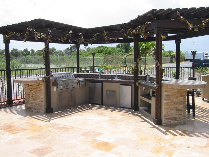 Outdoor kitchens custom built outdoor kitchen with wood for Built in gazebo