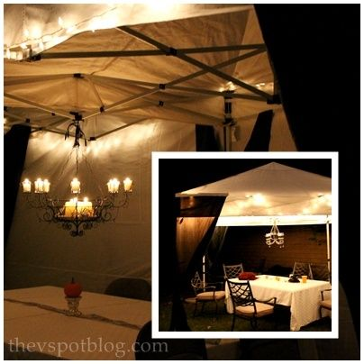 a night circus inspired party tent for halloween