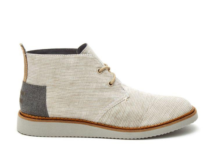 undefined Light Grey Pinstripe Men's Mateo Chukka Boots