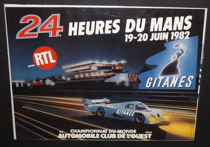 ORIGINAL LE MANS 24 HOURS 1982 RACE POSTER ACO PORSCHE 956 ICKX & BELL FORD C100