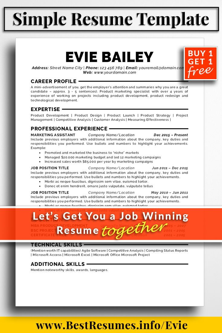 A Professional Resume Amusing Resume Template Evie Bailey  Simple Resume Template Simple Resume .