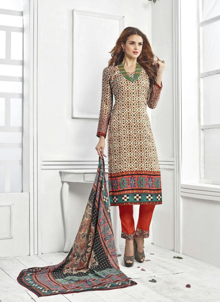 Beige Wholesale Straight Salwar Kameez In Pashmina Fabric