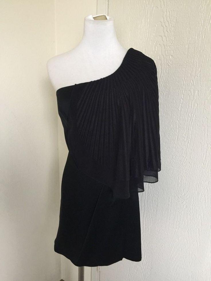 BCBG MaxAzria Runway size 6 black one shoulder draped cocktail dress  | eBay