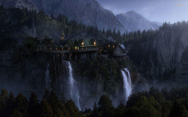 Village over waterfalls