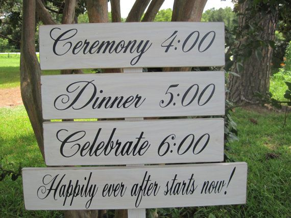 Rustic Wedding Signs Directional Wood Timeline Program Ceremony Reception On Stake Set Of 4 Country Barn Style Weddings Road Sign