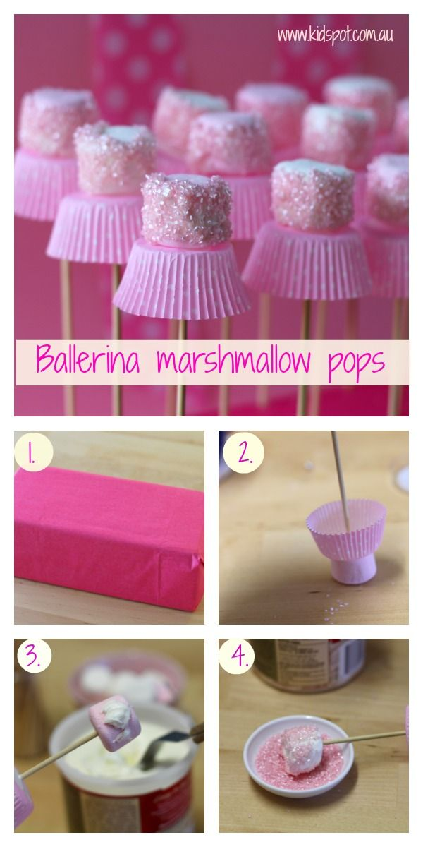 These sweet Marshmallow Ballerinas are perfect for a little girl's birthday party. Tutorial and video-> http://wonderfuldiy.com/wonderful-diy-cute-marshmallow-ballerinas/