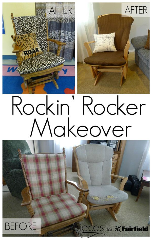 Step-by-step help for updating a rocking chair in just an afternoon.  I think everyone has a well used chair that needs this.