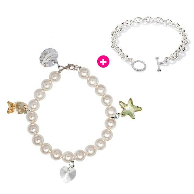 Glam Multiway Lenna Charm m/w SWARVOSKI Elements & SWAROVSKI Pearl Bracelet Gift Set Crafted by Angie (FREE Additional Chain Bracelet)  Valentine's Day Gift Idea #kelvingems #valentine2015 (Free Shipping Nationwide + Free Valentine's Gift Packaging + 30 Days Manufacturer Warranty + Free Polishing Service + 7 Days Exchange Period)