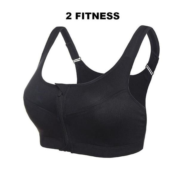 Bra Women Running Yoga Gym Fitness Front Zipper