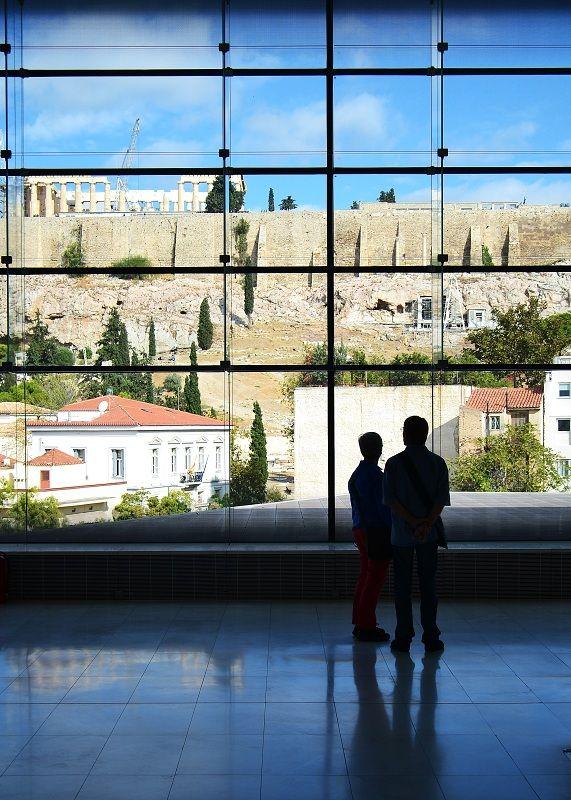 Enjoying the view, taken inside New Acropolis Museum, Athens, Greece