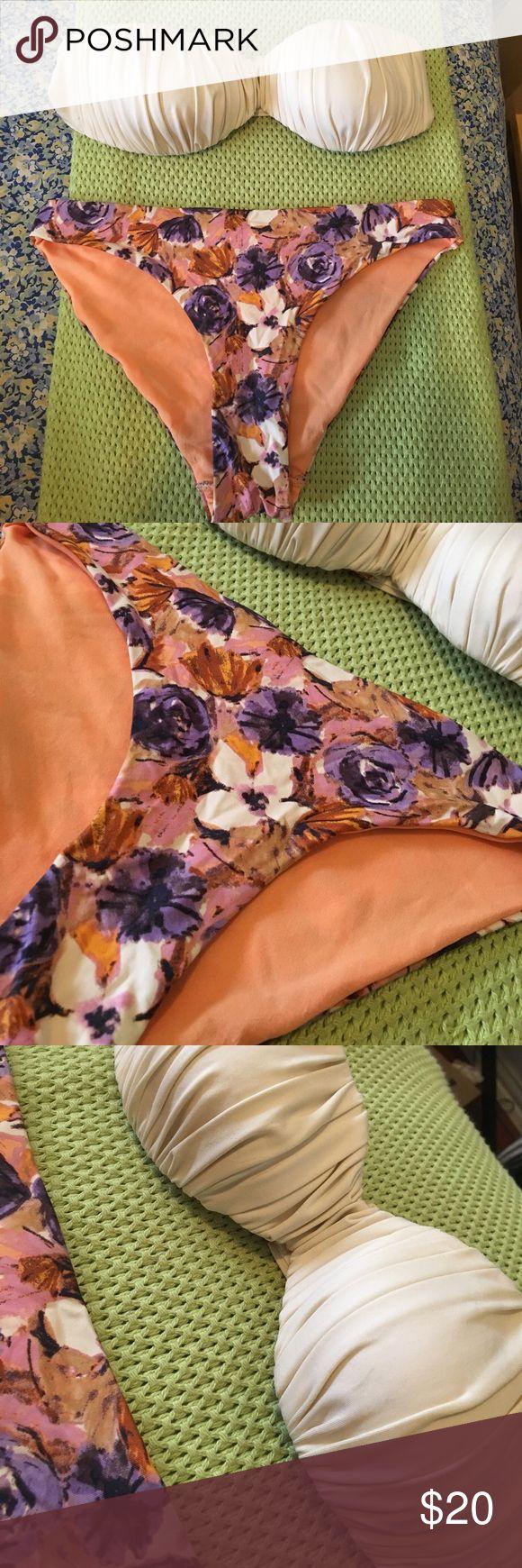 H&M orange, purple and cream bikini set! Very cute floral print on the bottoms! Size 4 bottoms and size 6 top H&M Swim Bikinis