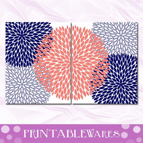 Coral and Navy Wall Art Nursery Decor by PrintableWares on Etsy