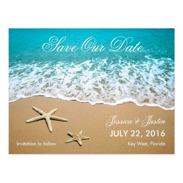 Beach With Starfish Save the Date Card -  This modern card is ideal to announce a Beach or Destination Wedding. It features a beautiful picture of a beach... #custom #beach themed #gift #postcard design by #marlenedesigner - #postcard #destinationwedding #beach #ocean #oceanfront #waves #starfish #sand #summer #beachwedding #caribbean #tropical #florida #mexico #island #blue #modern #elegant