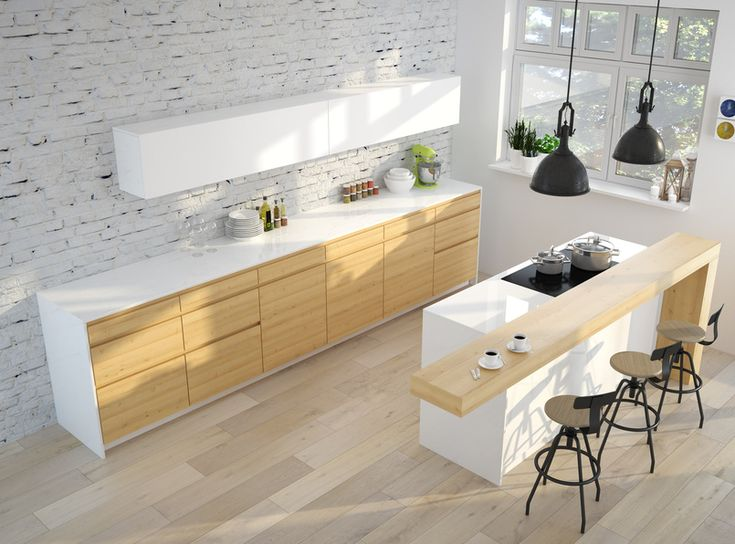 Przykład aranżacji kuchennej z ceglaną ścianą
