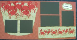 Bushel of crabs scrapbook page layout - crab die cuts