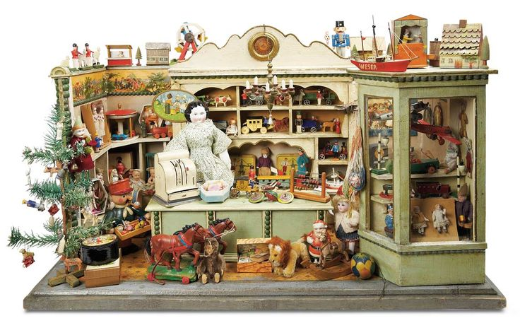 Outstanding German Wooden Toy Store Well-Laden for the Holidays . Germany, 1900.