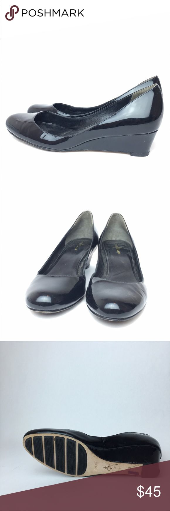Cole Haan black patent leather wedge 7.5 Good condition, lightly worn. Small dent on the side of one shoe. Pen mark on the bottom. ⛔️NO TRADES ⛔️NO TRY ONS Cole Haan Shoes Wedges