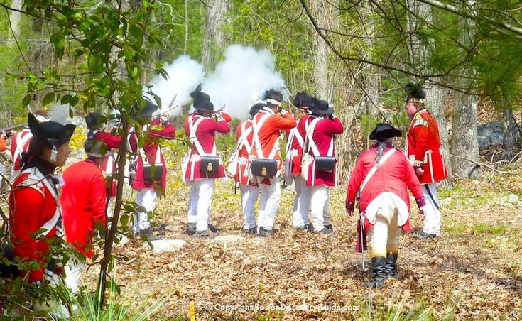 British Reenactors firing their muskets after being ambushed by Colonials during a portrayal of the Redcoats' retreat back to Boston