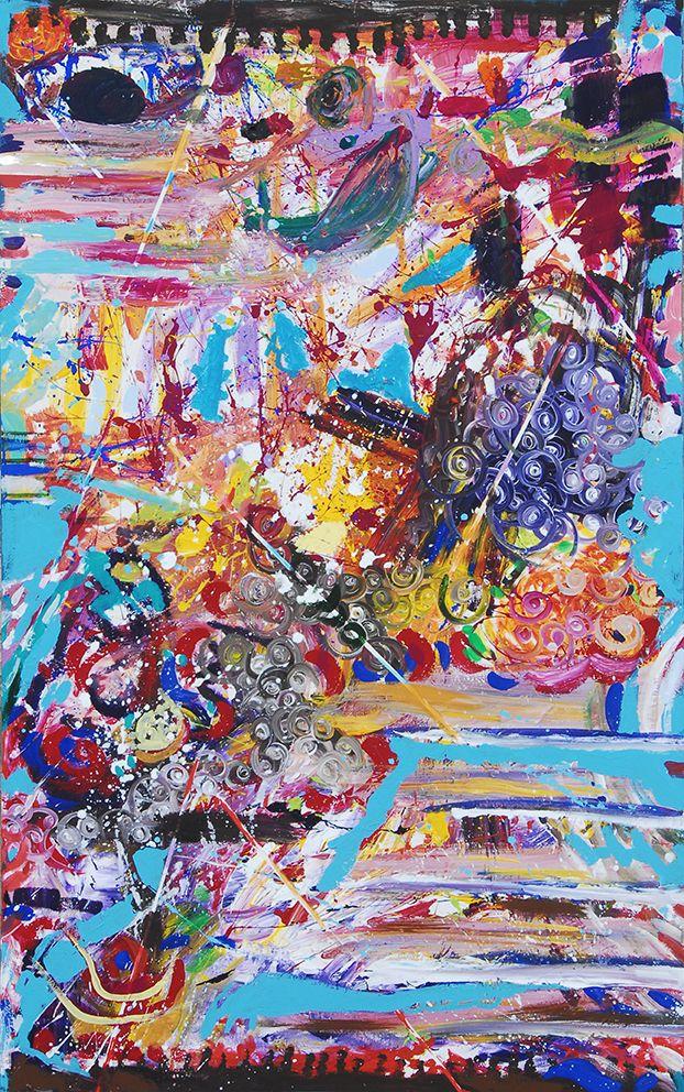 """Una volta terminati, i sei pannelli sono stati poi riuniti insieme dagli stessi, realizzando una singola opera con un senso di racconto condiviso. Attraverso il successivo procedimento di sintesi attuato da Anna Seccia, che ha lasciato spazio alle singolarità di tutte le presenze, è venuta alla luce l'opera collettiva """"Sinergie di Fragmenta 6″, pittura acrilica su tavola di metri 5.40 x 1.45."""