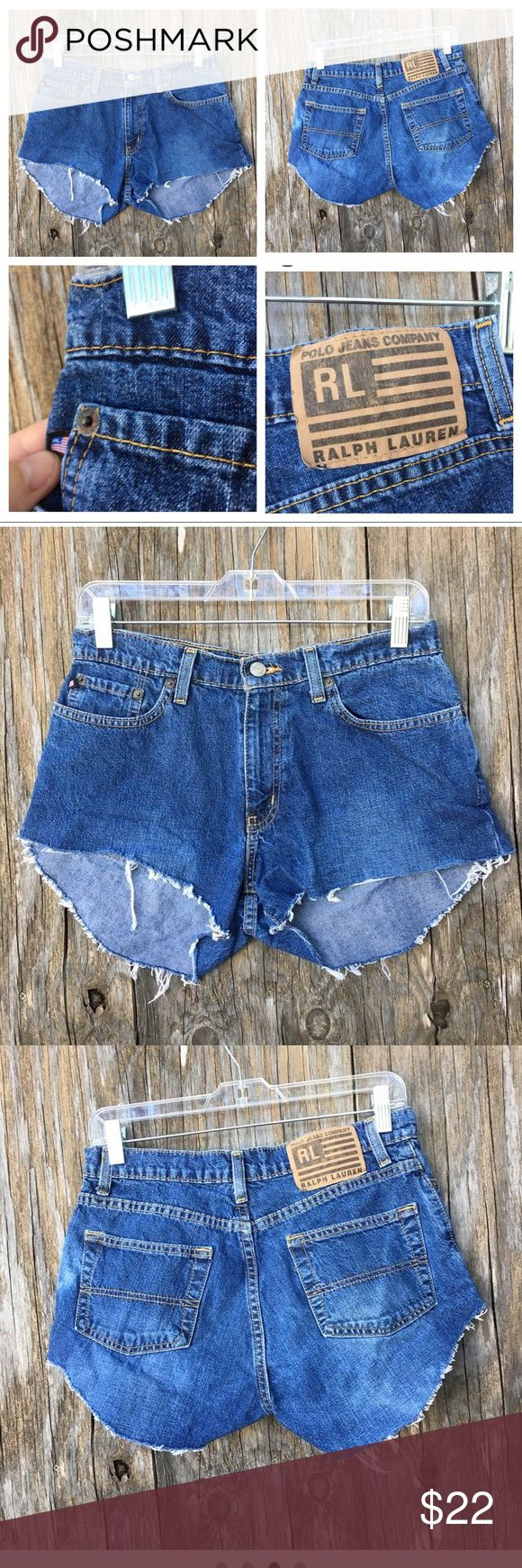 Vintage LRL Ralph Lauren Cut Off Shorts Ralph Lauren cut off destroyed frayed shorts Knicker cut length ~~ Longer in the back. High in sides and front.  Cut Off and washed to a perfect fray Perfect for the upcoming Festival Season.  Waist is 28 Size is 2-4 .  M Lauren Ralph Lauren Shorts Jean Shorts