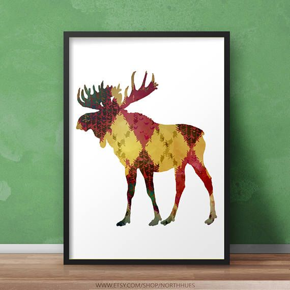 Moose Poster Color Pattern Instant Download