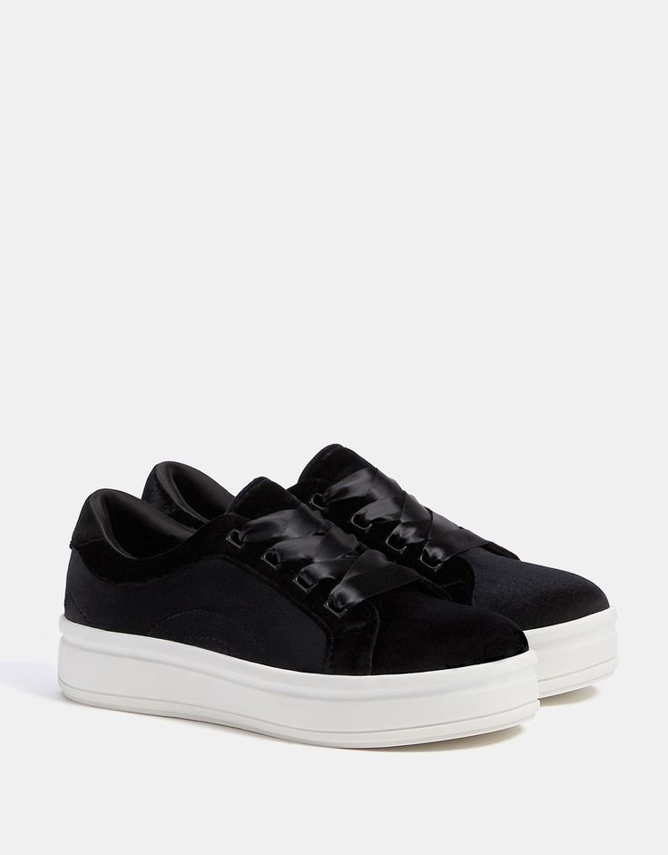 Velvet sneakers with satin laces - SHOES - Bershka United States