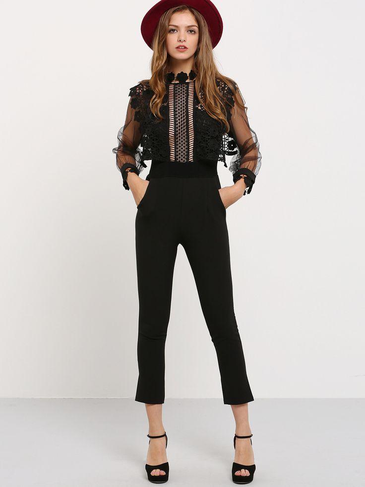 Black Lantern Sleeve Lace Crochet Jumpsuit -SheIn(Sheinside)