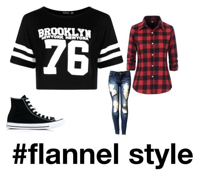 """""""#flannel style"""" by beautybonanz on Polyvore featuring Boohoo and Converse"""