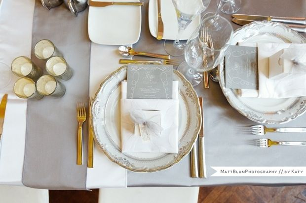 gold-silver-wedding-decor - i like the menu in the napkin with the gift box