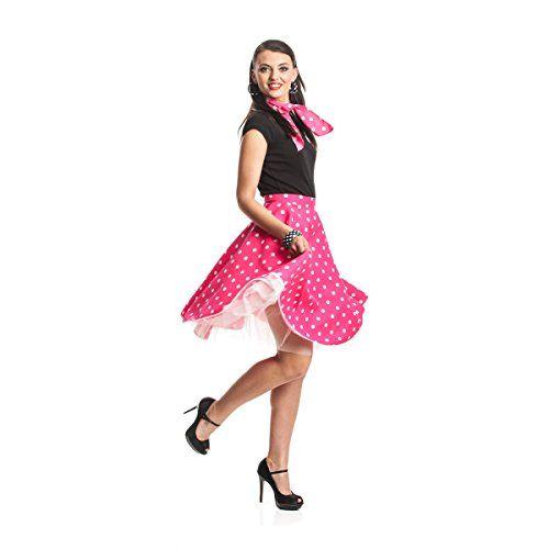 Kostümplanet® Rock'n Roll Kostüm für Damen mit Teller-Rock knielang und Halstuch im 50er Jahre Stil, Größe: 36 - 44, Farbe: pink   rosa   fuchsia, weiße Polka Dots, Rockabilly Outfit für Karneval, Fasching, Halloween - Damen Rockn Roll Kostüm