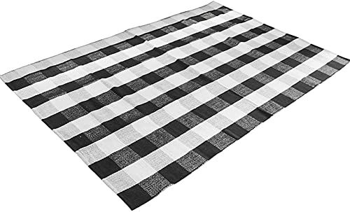 New Levinis Cotton Washable Area Rugs Black White Buffalo Checkered Rug Large Hand Woven Lattice Plaid Floor Rugs Carpet Living Room Bedroom 5 6 X 7 5 Feet O In 2020 Washable Area Rugs