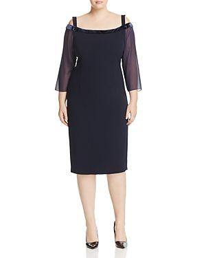 MARINA RINALDI DEDOTTO VELVET-TRIM COLD-SHOULDER DRESS. #marinarinaldi #cloth #