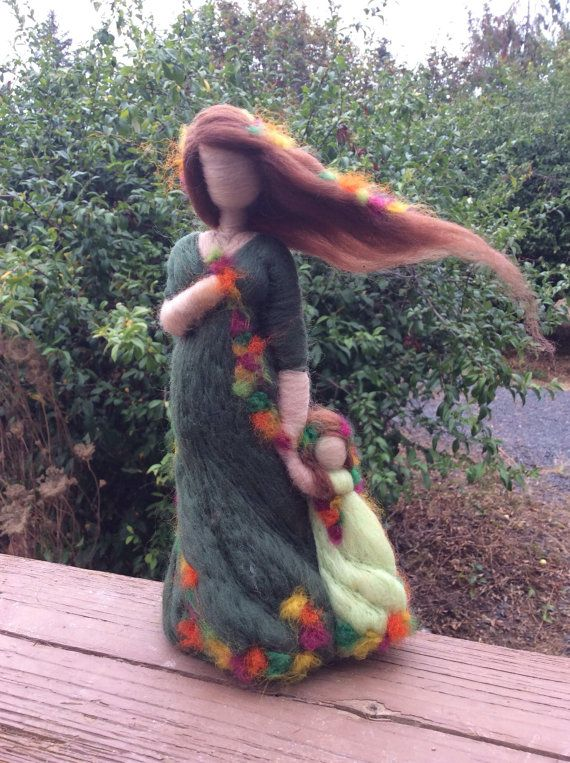 Fall Themed Needle Felted Mother and Daughter by radishwoolworks