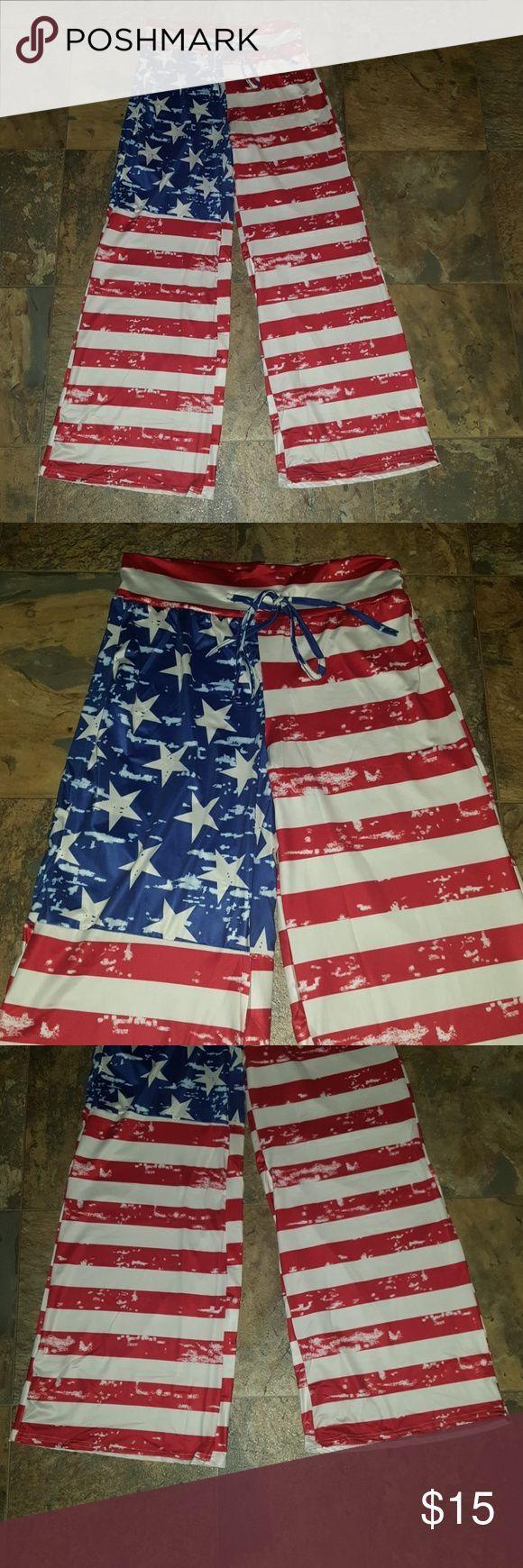 """NIP LADIES AMERICANA BEACH PANTS NEW RED WHITE & BLUE """"AMERICANA"""" WIDE LEG.BEACH PANTS Pants Wide Leg"""