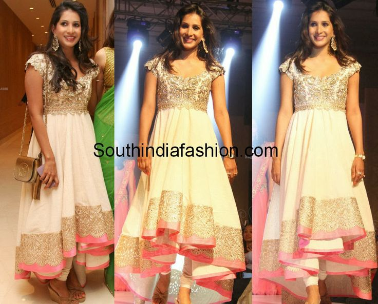 Anushree Reddy in beautiful white and gold high hem low hem anarkali with contrast pink border