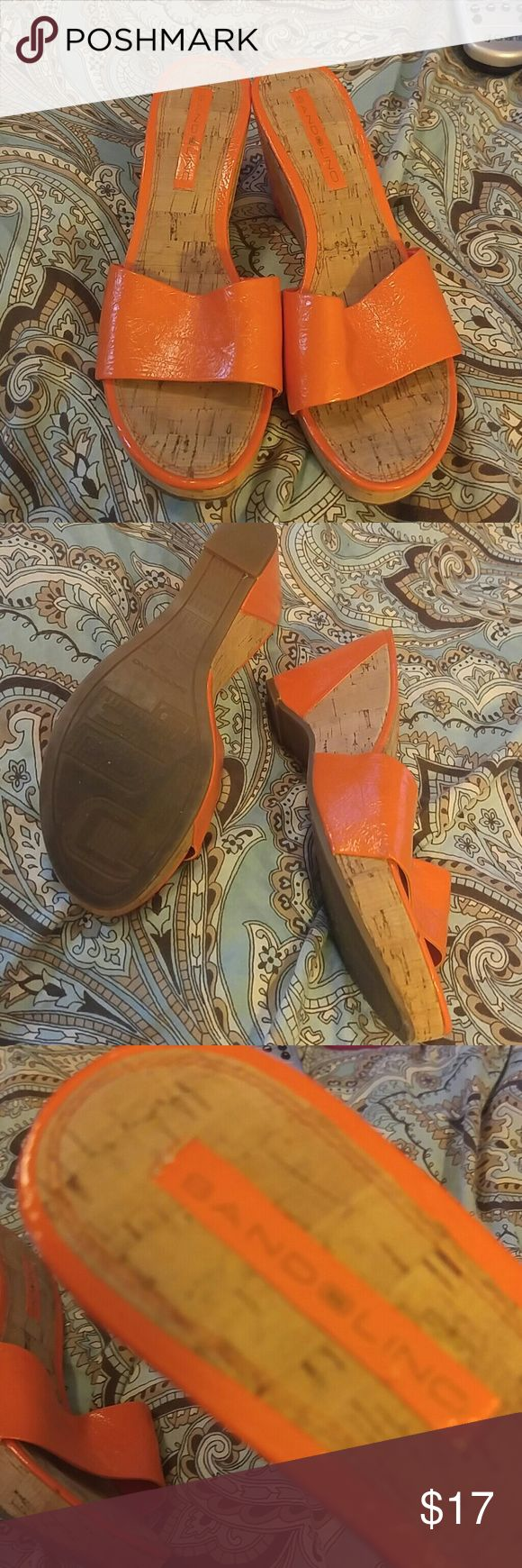 Orange Wedges Lovely Orange and cork wedges Bandolino Shoes Wedges