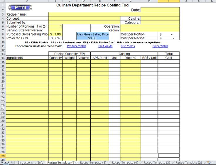 how to make an excel recipe template scalable video