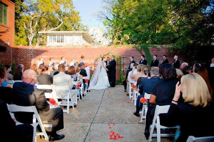 Outdoor Wedding Ceremony from the brickyard at The Garrett-Bullock House in Columbus Georgia