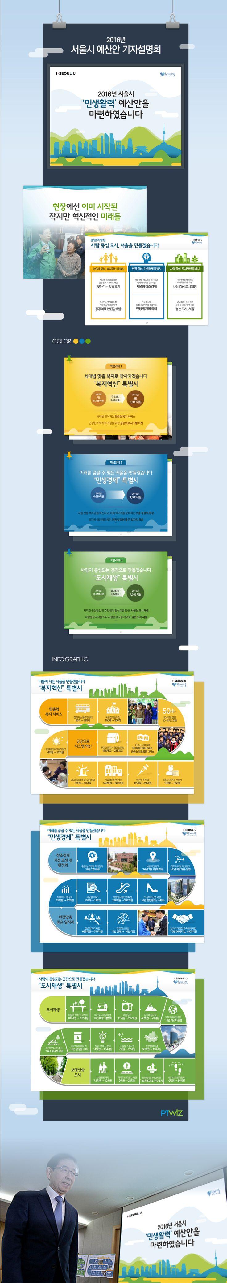 2016년 서울시 예산안 기자설명회 PT & 인포그래픽  Client : Seoul City Designed by ptwiz