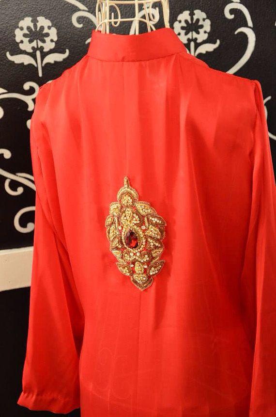 Red silk kurta kurti Pakistani designer Indian medium large on Etsy, $135.00