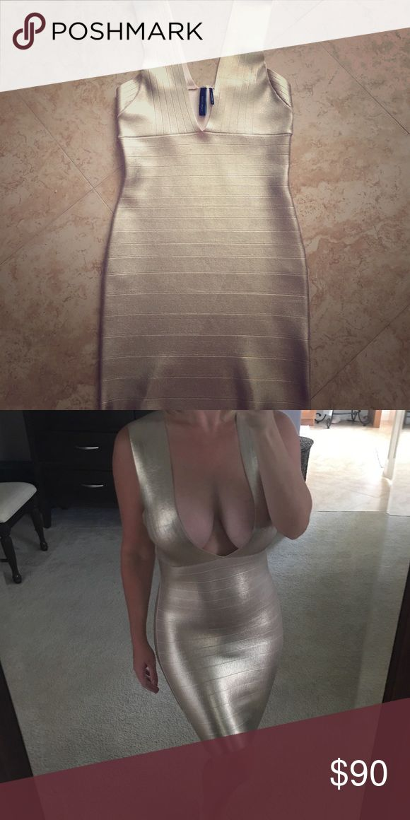 Gold bodycon dress This dress is a total knockout!! Never worn except to try on. In like new condition. Bodycon style with plunge neck and v back. Hugs those curves in all the right places! Marciano Dresses Mini