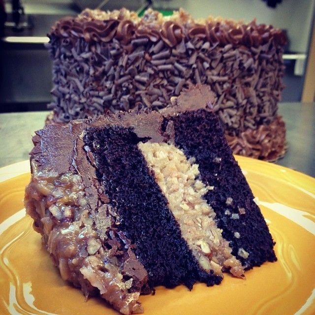 Mmmm German chocolate cake. What else could you ask for? #germanchocolatecake #cake #germanchocolate #coconut #pecans #chocolate #torte #yellow #heaven #getinmybelly #sliceofcake