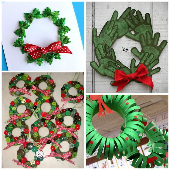 "Stamp your baby's hand and foot with green paint to make an adorable Christmas wreath canvas to hang up for the holidays! Add a cute red bow at the top and write ""merry christmas"" in the middle. How cute is the little girl though?! Credit to Lily on Instagram. Make sure to follow Crafty Morning …"