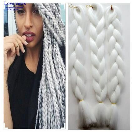 Free shipping ombre Kanekalon braiding hair one toned jumbo braids 5 pieces/lot synthetic hair extension snow White