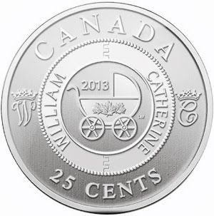 """25-Cent Coin Royal Infant Carriage    The final coin from the Royal Canadian Mint is a 25-cent coin depicting a baby carriage with maple leaves. An interlocked circle with the names """"William"""" and """"Catherine"""" surrounds, with the letters """"W"""" and """"C"""" adorned by crowns to each side."""