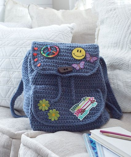 Knitting Pattern For Book Bag : 1314 best Crochet Bags & Purses images on Pinterest Crochet bags, Free ...