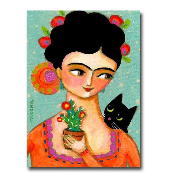 ORIGINAL acrylic painting Frida Kahlo with Black cat and Cactus folk art by TASCHA